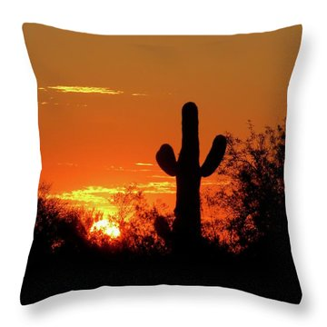 Lone Saguaro Sunrise Throw Pillow