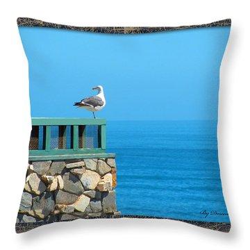 Lone Sea Gull Throw Pillow by Doreen Whitelock