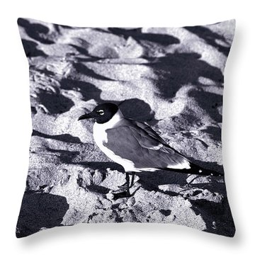 Lone Seagull Throw Pillow by Gary Dean Mercer Clark