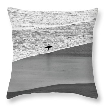 Throw Pillow featuring the photograph Lone Surfer by Nicholas Burningham