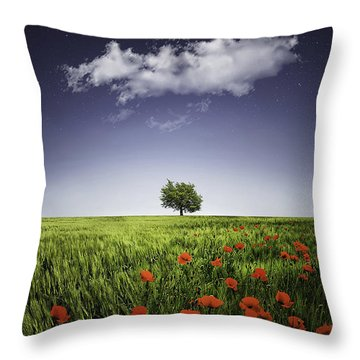 Lone Tree A Poppies Field Throw Pillow by Bess Hamiti