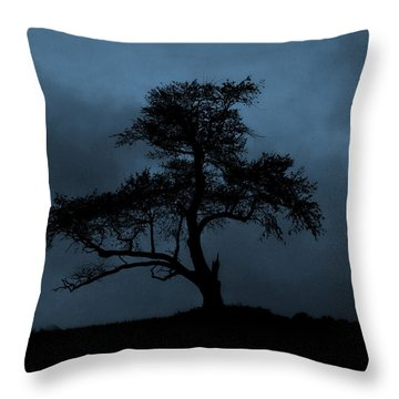 Lone Tree Blue Throw Pillow