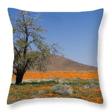 Lone Tree In The Poppies Throw Pillow by Sandra Bronstein