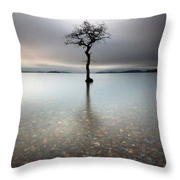 Lone Tree Loch Lomond Throw Pillow by Grant Glendinning