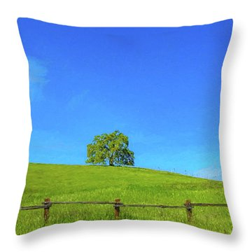 Lone Tree On A Hill Digital Art Throw Pillow