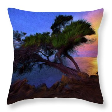 Lone Tree On Pacific Coast Highway At Moonset Throw Pillow