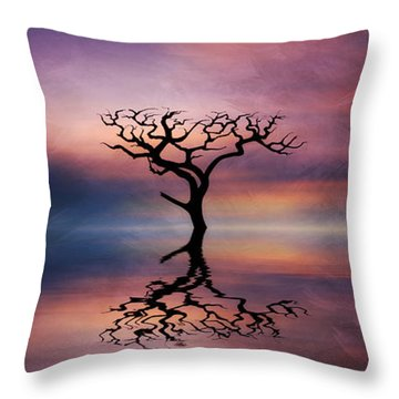 Throw Pillow featuring the digital art Lone Tree Sunrise by Ian Mitchell