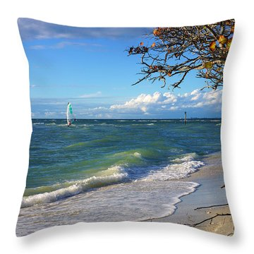 Lone Windsurfer At Wiggins Pass Throw Pillow