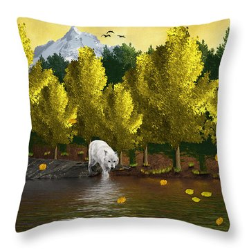 Lone Wolf At The River Throw Pillow