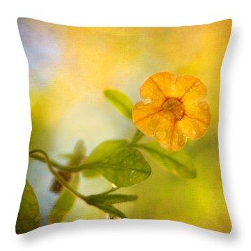 Lone Yellow Flower Throw Pillow