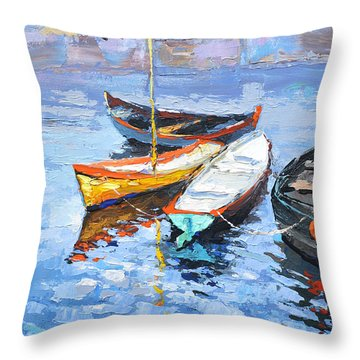 Lonely Boats  Throw Pillow