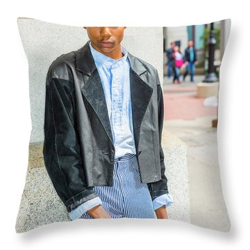 Throw Pillow featuring the photograph Lonely Boy With White Rose 15042644 by Alexander Image