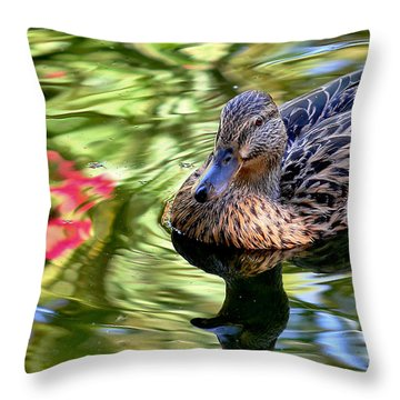 Throw Pillow featuring the photograph Lonely Duckie by Elaine Malott
