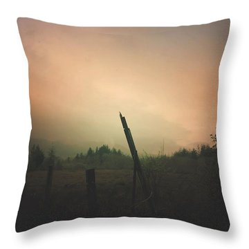 Throw Pillow featuring the digital art Lonely Fence Post  by Chriss Pagani