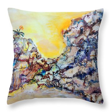 Throw Pillow featuring the painting Lonely Flower by Mary Schiros