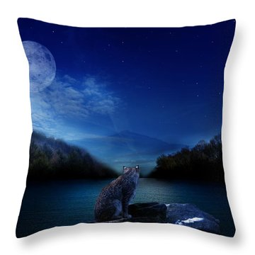 Lonely Hunter Throw Pillow by Bernd Hau