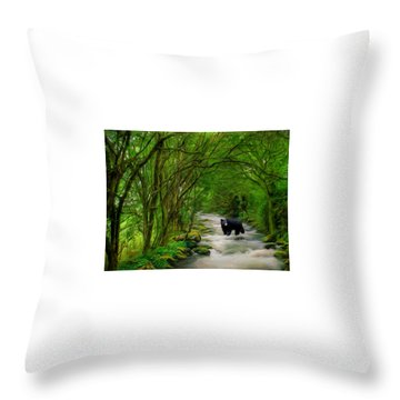 Throw Pillow featuring the painting Lonely Hunter by Steven Richardson