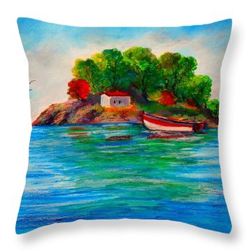 Lonely Island In Greece Throw Pillow