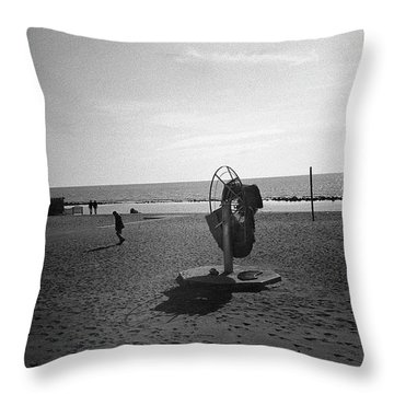 Lonely Man In Ostia Beach Throw Pillow