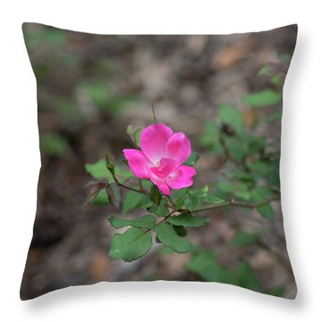 Lonely Pink Flower Throw Pillow