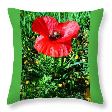 Lonely Poppy Throw Pillow