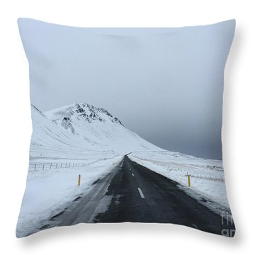 Lonely Road On Snaefellsnes Peninsula Throw Pillow