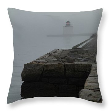 Throw Pillow featuring the photograph Lonely Salem Lighthouse In Fog by Jeff Folger