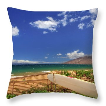 Lonely Surfboard Throw Pillow by James Eddy