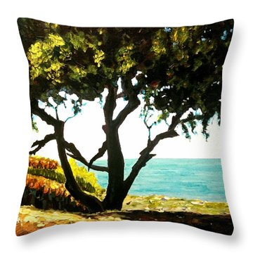 Lonely Tree By The Beach Throw Pillow