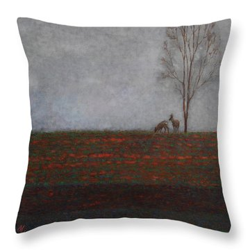 Lonely Tree With Two Roes Throw Pillow