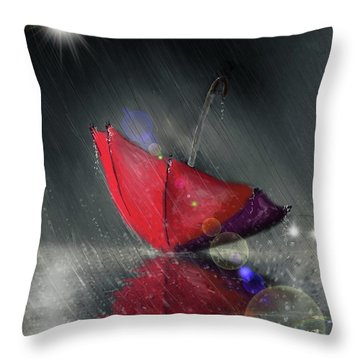 Lonely Umbrella Throw Pillow