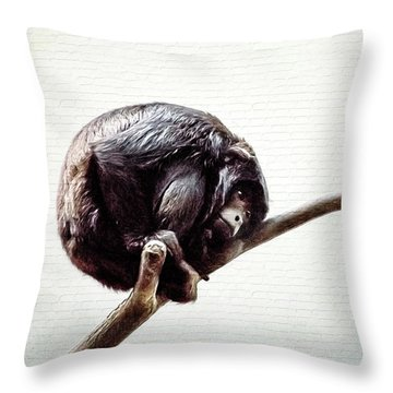 Lonely Urban Chimpanzee  Throw Pillow
