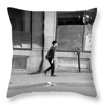 Throw Pillow featuring the photograph Lonely Urban Walk by Valentino Visentini