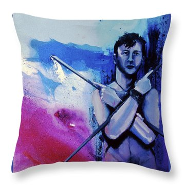 Throw Pillow featuring the painting Lonely Warrior  by Rene Capone