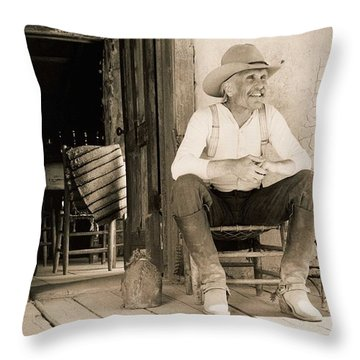 Lonesome Dove Gus On Porch  Throw Pillow