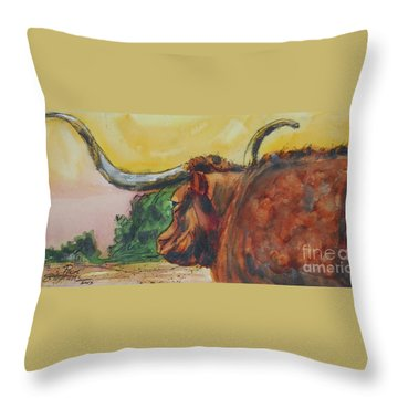Lonesome Longhorn Throw Pillow