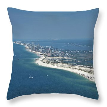 Long, Aerial, Beach View Throw Pillow