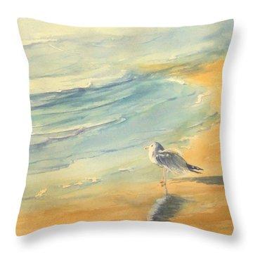 Long Beach Bird Throw Pillow