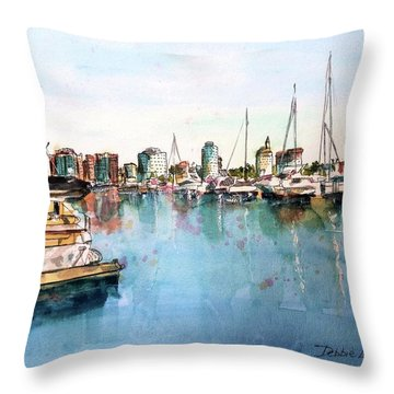 Long Beach Coastal View Throw Pillow