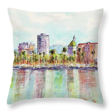 Long Beach Coastline Reflections Throw Pillow