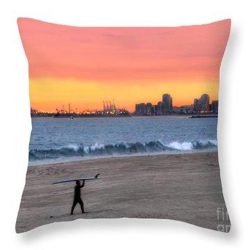 Long Beach From Huntington Beac Throw Pillow