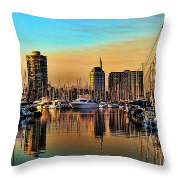 Throw Pillow featuring the photograph Long Beach Harbor by Mariola Bitner