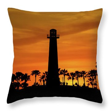 Long Beach Lighthouse Throw Pillow