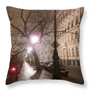 Long Cobblestone Street Of Prague Throw Pillow