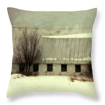Throw Pillow featuring the photograph Long Cold Winter - Winter Barn by Janine Riley