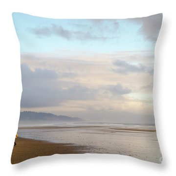 Long Day Surfing Throw Pillow