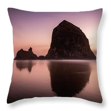 Long Exposure Of Haystack Rock At Sunset Throw Pillow