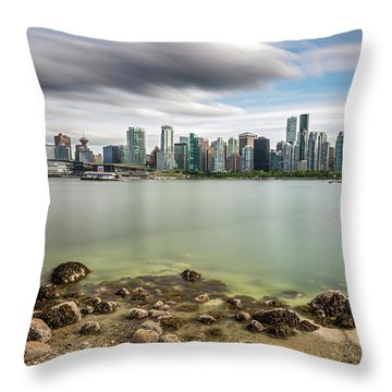 Long Exposure Of Vancouver City Throw Pillow