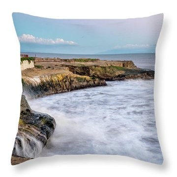 Long Exposure Of Waves Against The Cliff With Lighthouse In Shot Throw Pillow