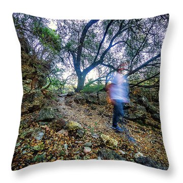 Long Exposure Peddernales Falls State Park Hike Throw Pillow by Micah Goff